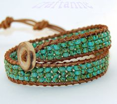 Double wrap leather and turquoise bead bracelet