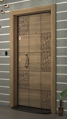 teak wood finish wooden door with window 8feet height doors in