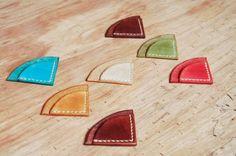 Leather corner bookmark handmade in beautiful colors