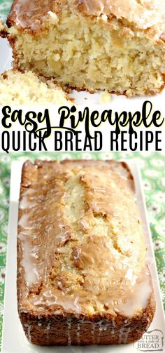 Apr 2020 - Pineapple Quick Bread is sweet, moist and absolutely delicious, especially with a simple pineapple glaze on top! This quick bread recipe is made with crushed pineapple, cream cheese, sour cream and a few other basic ingredients. Quick Bread Recipes, Easy Bread, Banana Bread Recipes, Sweet Recipes, Baking Recipes, Cake Recipes, Dessert Recipes, Zucchini Bread Recipe With Butter, Sweet Bread Recipe Easy