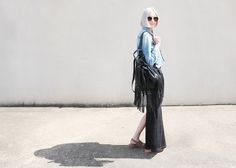 Casual Friday | street style | fashion blogger | maxi skirt | fringe backpack | jean jacket | We the Birds