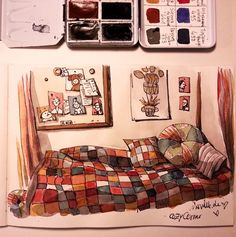 by: instagram.com/iraville I needed to use colors today to cheer me up. I doodled some colorful cozy corner ❤ it helped a lot #sketch #sketchbook #sketching #watercolor #watercolour #watercolors #ink #inktober #inktober2015 #art #artist #illustration #illustrator #artistsoninstagram #warmandcozy #cozycorner #autumn #patterns #patchwork #blanket #pillows
