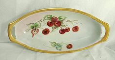 """Antique Hand Painted Cherries Porcelain Dish Tray Gold Trim 9.5"""""""