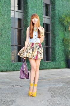 denim and printed skirt:  itscamilleco.com1204201218