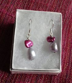 Cultured Freshwater Pearl in Lilac and Fuchsia on 925 Sterling Silver Earrings