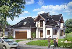 Projekt domu Hermes - dom z dużym i efektownym przeszkleniem pokoju dziennego