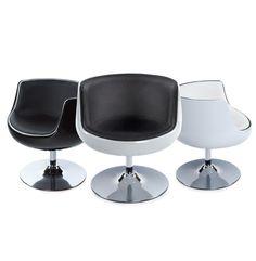 Fauteuil DEKO - Ce #fauteuil vous emportera au fin fond des années 60 ! Une forme et un esprit seventies qui envoûtera votre décoration... http://www.alterego-design.com/fauteuil-design-deko-boule-rotative-coque-blanche-simili-cuir-blanc.html