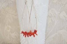 Coral Earrings/Red Coral Sterling Silver Beach Statement