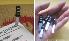 Kill Bill : Sword push pins...from paper, plate, and plane...great tutorial with photos!