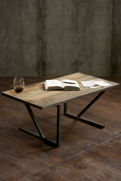 Reclaimed Wood Coffee Table Rustic Pallet Wood and Steel Custom Coffee Table from Sonder Mill
