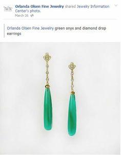 #DerbyStyle Green Onyx dazzling drop earrings #Elegance @Orlanda Olsen #FineJewelry #KentuckyDerby