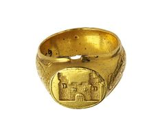 Finger ring-gold :  a castle on the bezel, English c 1450-1500