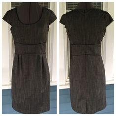 "WORTHINGTON Slate Gray Dress WORTHINGTON Slate Gray Dress. Scoop neckline.   Short sleeves.  Black piping trim.  Fully lined.   Gray polyester/rayon/spandex blend material.  Shoulder width 14"".  Length 37"" (shoulder to hem).   Great condition. Worthington Dresses"