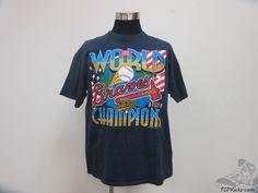 Vtg 90s 1995 Atlanta Braves World Series Short Sleeve Crewneck t Shirt sz XL  #Unknown #AtlantaBraves