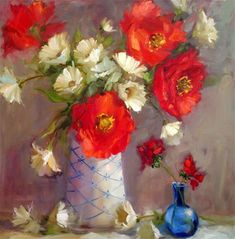 Poppies  and  Blue vase - Original Fine Art for Sale - © by Krista Eaton