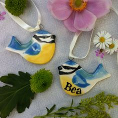 These very cute little ceramic blue tits, hang them on a tree or twig or use them as place names at the table. By Hannah Berridge.