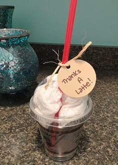 "thank you gift: ""thanks a latte"" coffee gift card in cup!"