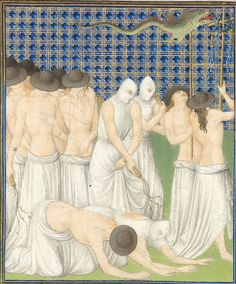 "Close up of ""Procession of the Flagellants"", Limbourg Brothers from the Books of Hours, (Les Belles Heures), circa 1405–1408. Outbreaks of the plague were a cruel reality of medieval life, in response to which men went in procession ""tormenting the flesh in fasting and prayer and lamentation,"" as the caption on this image indicates."
