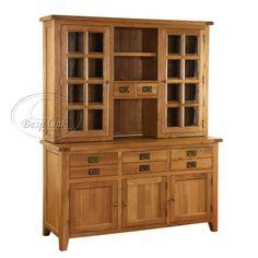 VXD004+Vancouver+Oak+Solid+Oak+Dresser+Base+with+Glazed+Top+-+Bevelled+Glass