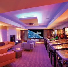 Video game room in house they actually have an arcade room i Camping Ideas, Attic Game Room, Arcade Game Room, Arcade Games, Bedroom Setup, Bedroom Ideas, Man Cave Home Bar, Game Room Design, Entertainment Room