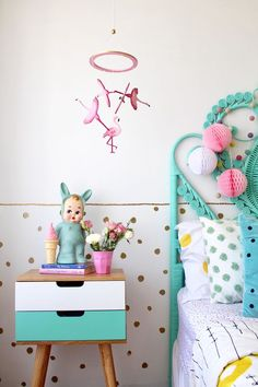 Kids decor - flamingo mobile by Sun and Co   children's and nursery bedroom ideas   styling and photography by four cheeky monkeys