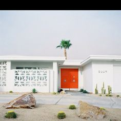 architectural design facade white 60s palm springs california bungalow - Google Search