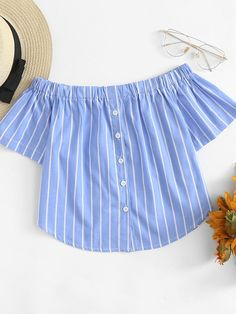 Boho Striped Regular Fit Off the Shoulder Short Sleeve Pullovers Blue Crop Length Off Shoulder Striped Top Trendy Outfits, Cute Outfits, Fashion Outfits, Corsage, Kids Frocks Design, Romper Outfit, Shirt Refashion, African Fashion Dresses, Summer Shirts