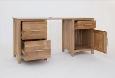 Hereford Oak Double Pedestal Desk - Pedestal Drawer Units - Home Office