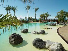 Abama Golf and Spa Resort main swimming pool, Tenerife, Spain Beach Entry Pool, Beach Pool, Piscina Hotel, Natural Swimming Pools, Backyard Pool Designs, Holiday Resort, Beautiful Pools, Dream Pools, Canary Islands