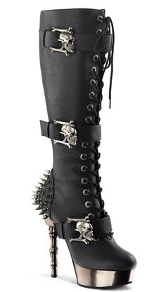 MUERTO-2028 Black Stiletto Boots. (Pretty sure I could make something similar with shiny paint, studs and buckles)