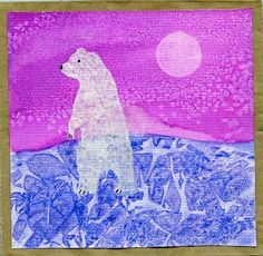 """Love the texture techniques to make the moon (plastic cup & paper towel), frosty air (salt), & icy ground (saran wrap) - with tempera cakes! Project by """"that artist woman."""""""