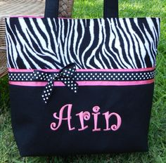 Hey, I found this really awesome Etsy listing at https://www.etsy.com/listing/62508984/personalized-zebra-print-diaper-bag