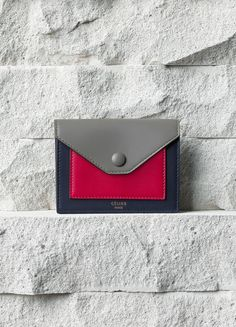 Pocket Card Holder in Fushia Smooth Calfskin - Céline