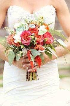 orange + green bouquet | Whitebox Photo #wedding