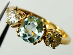 AQUAMARINE GOLD RING  22 CTS   PI-2  mixed gemstone ring , gemstone ring , ring size , silver gemstone ring , sapphires, ruby , emerald, citrine, diamonds, amethyst