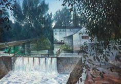 The Weir, Charenton by Christopher Nevinson; Oil on canvas; National Museum Of Wales, Art Database, Art Uk, Modern Artists, Cubism, Your Paintings, Photo Art, Oil On Canvas, Landscape