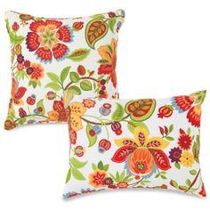 Outdoor Throw Pillows In Telfair Red Bedbathandbeyond Patio Cushions