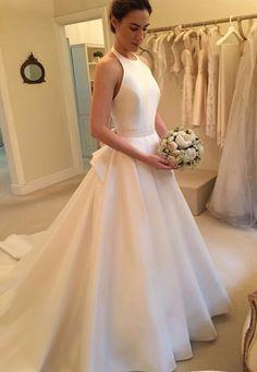 Modern Wedding Dresses,Halter Wedding Dresses, Satin Wedding Dresses