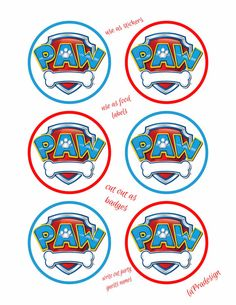 Paw Patrol Birthday Party Badge -3 inch circles  PDF file