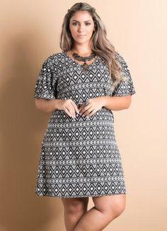 Vestido T-Shirt Estampa Étnica Plus Size - Quintess 5380826b35b