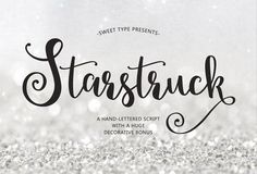 Starstruck hand-lettered script by Emily Spadoni on @creativemarket  Fonts, Typography, Cursive Fonts, Branding Fonts, Graphic Design, Calligraphy, Logo Font
