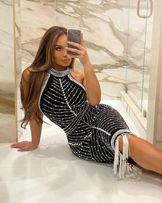 Get ready to look extra glam in our Holly dress! Featuring a halter neckline with... Sexy Dresses, Nice Dresses, Amazing Dresses, Catwalk Collection, Special Occasion Dresses, Designer Dresses, Bodycon Dress, Daphne Joy, Style