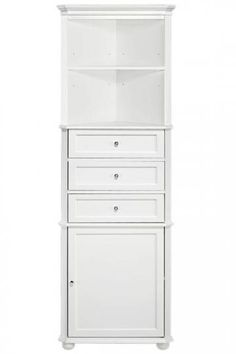 Hampton Bay Corner Linen Cabinet I  Add Stylish Storage with This Linen Cabinet  Item # 47728  $189