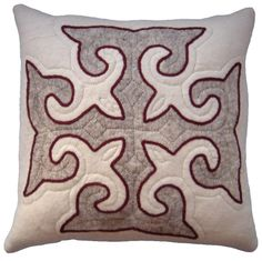 Stylish neutral cushion from Felt - White, grey and red trim. http://www.feltrugs.co.uk/accessories/