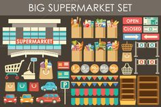 Check out Big supermarket set by GurZZZa on Creative Market