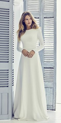 Suzanne Neville Wedding Dresses To Inspire Any Bride ★ suzanne neville wedding. Suzanne Neville Wedding Dresses To Inspire Any Bride ★ suzanne neville wedding dresses simple a line with long sleeves similar meghan markle★ See more: weddingdressesgui. Modest Wedding Dresses, Designer Wedding Dresses, Bridal Dresses, Dresses Uk, Simple Wedding Dress Sleeves, Simple Elegant Wedding Dress, Event Dresses, Simple Elegance, Summer Dresses