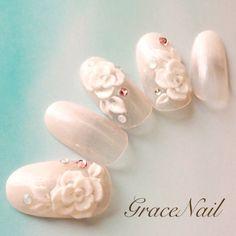 かわいいネイルを見つけたよ♪ #nailbook 3d Nails, Nail Art Diy, Acrylic Nails, Hand Designs, Nail Art Designs, Wedding Nails Design, Nail Wedding, Acrylic Flowers, Bridal Nails