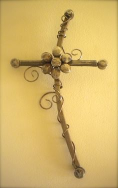 """""""Joy of My Heart"""" Cross, made of industrial scrap iron and rusted wire by artist Catherine Partain at crossesbycatherine.com"""
