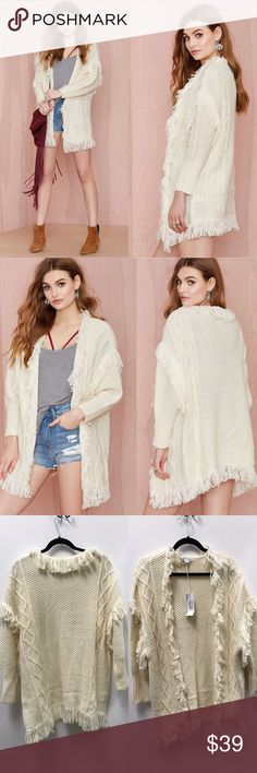 Glamorous Estelle Knit Cardigan Things are about to get cozy as hell. The Estelle Cardigan has an ivory knit shell with open front, fringe detail, and ribbing at cuffs. Pair it with distressed ankle boots and a vintage dress. By Glamorous. 📍brand new boutique item📍 *Acrylic/Wool  *Runs true to size  *Model is wearing size x-small  *Dry Clean  *Imported glamorous Sweaters Cardigans