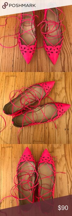 J.Crew Collection flats J.Crew Collection leather lace-up flats. Eyelet and lace detailing throughout the shoe. 100% leather and made in Italy. A brighter, fluorescent pink than pictured. Only worn twice. Signs of wear on sole. Comes with dustbag. Super soft leather. J. Crew Shoes Flats & Loafers